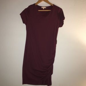 Vici Dolls Perfect Fit Maroon Ruched Shirt Dress
